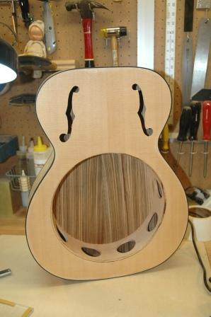 Smg guitars guitar 901 square neck zebra resonator for Guitar f hole template